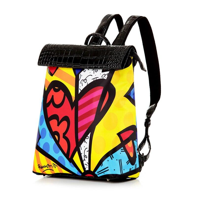 ROMERO BRITTO 2017 Printing Backpack Women Graffiti School Bag For Teenage Girls Fashion Satin Casual Dual-Use Rucksack HOT SALE