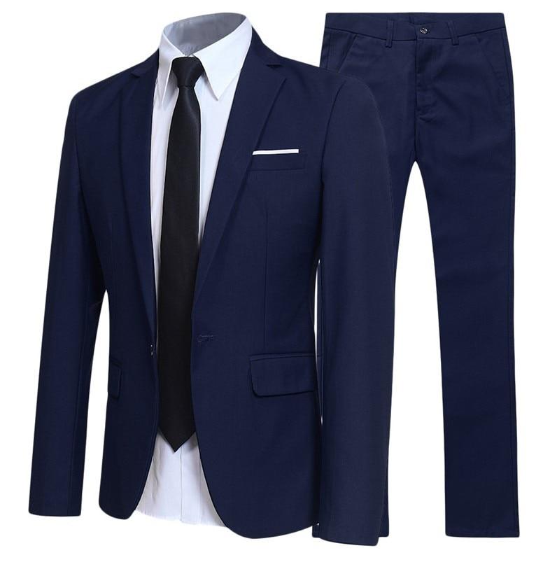 New Men's Suit Two-piece Suit Business Slim Casual Suit Male Youth Groom Wedding Suit Large Size 3XL 4XL 5XL