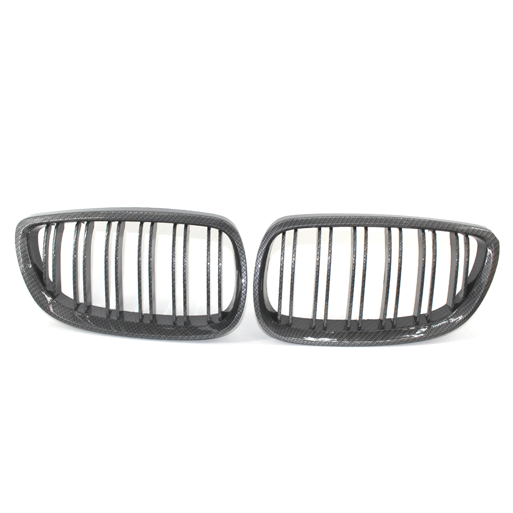 For BMW 3 Series E92 E93 M3 Coupe 2 DOOR Carbon Fiber Style Kidney Sport Front Grille Grill 06 09 Dual Slat 51137157277 / 278