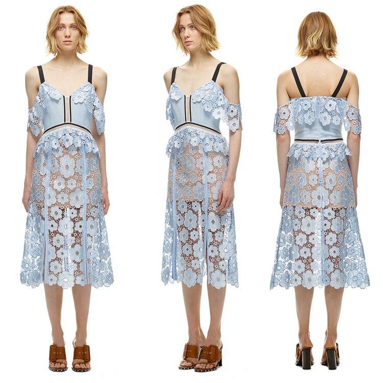 2017 новые поступления европейский стиль летние модные брендовые женские Sack Сексуальная солнце цветок кружева v-образным вырезом кружева