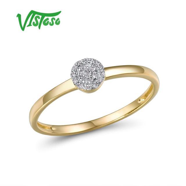 VISTOSO anillo de oro espumoso con diamante redondo para mujer, sortija de 14 quilates, 14K, 585, color amarillo, delicado de moda, aniversario