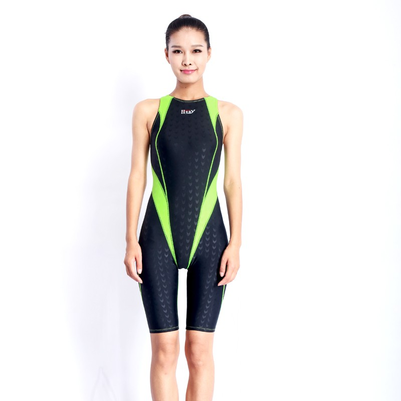 HXBY swimwear swimming suit women swimsuit Competition racing swimsuits knee swim suits plus size one piece training swimwear 12