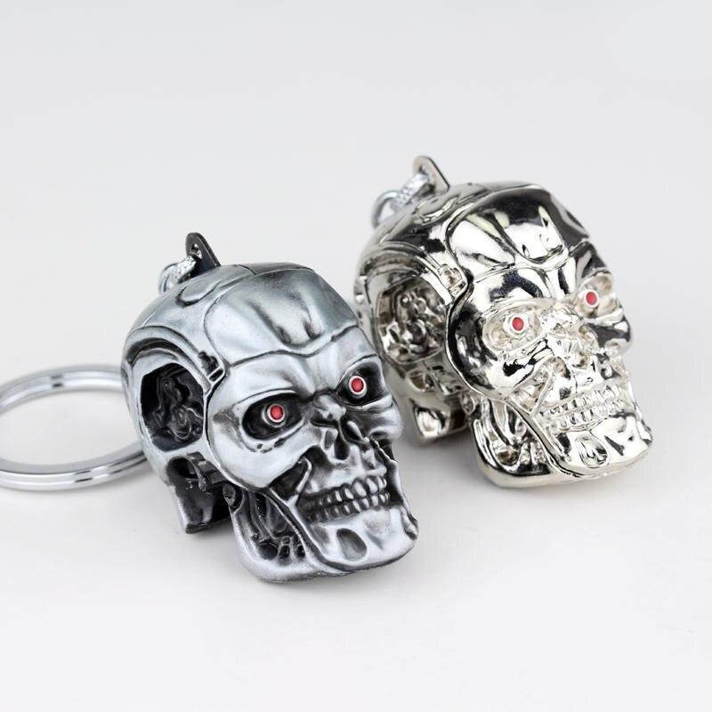 War Game terminator Skull punk Keychain 3D Gothic Skull Skeleton Metal Keyrings men cool jewelry