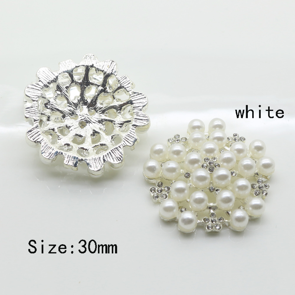 6pcs/Set 30mm Beautiful White Pearl Button Silver Clear Glass Rhinestone Buttons Wedding Clothing Meetal Button Decorative