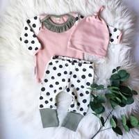 Pink Newborn Baby Boy Girl Outfits Tops Dot Pants Legging Hat Clothes 3PCS Set
