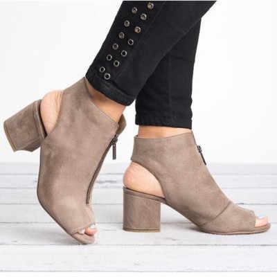 Nuevas botas de tobillo de cuero de imitación de gamuza Casual abierto Peep Toe tacones altos cremallera de moda cuadrado de goma negro zapatos para mujer tamaño 34-43