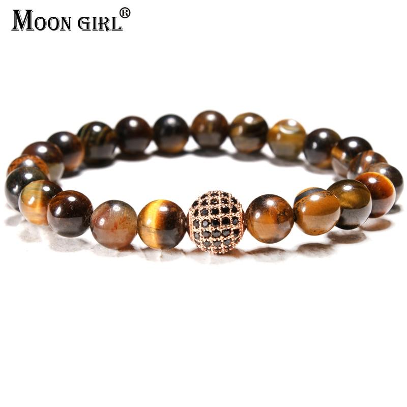 MOON GIRL 8MM Tiger Eye Natural Stone Men Bracelet Elastic Beaded Amazonite CZ Pave Ball Bracelets for Women Yoga Boho Jewelry