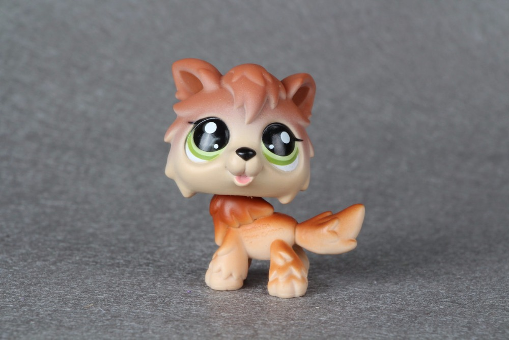 New pet Genuine Original LPS #2141 Green Eyes Timber Wolf Dog Brown Tan Puppy Kids Toys pet shop toys dachshund 932 bronw sausage dog star pink eyes