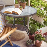 Brown Patio Rattan Round Table Tempered Glass Furniture Outdoor Coffee Dining HW51585