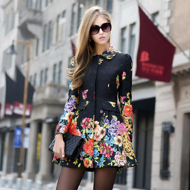 High Quality Russian Fashion Designer 2018 Women Autumn Winter Floral Printed Trench Long Sleeve Medium-long Causal Coat XL XXL
