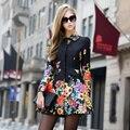 Высокое качество русский мода дизайнер 2015 женщины осень зима цветочные отпечатано плащ с длинными рукавами средней длины - длинные причинные пальто XL XXL