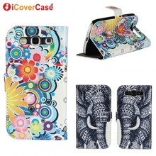Art Painting Elephant Flower Wallet Flip Leather Cover Case For Samsung Galaxy S5 Mini S6 edge S3 i9300 i8190 S4 mini S2 i9100