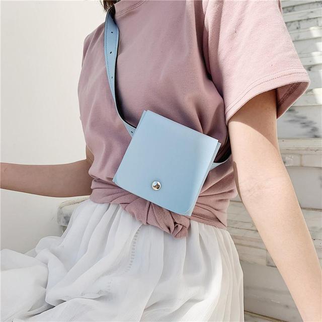 Модная женская уличная сумка с застежкой, однотонная сумка-мессенджер, маленькая поясная сумка