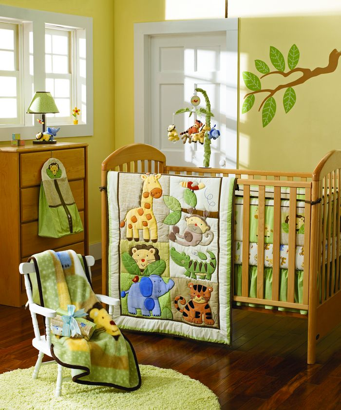 Baby Crib Bedding Sets Quilt Pers Ed Bed Skirt 7 Pieces Set Giraffe Elephants Monkeys Jungle Animals In From Mother Kids