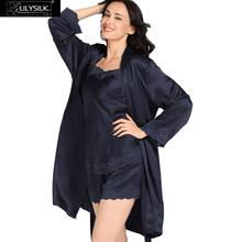Lilysilk 100 Real Silk Nightwear Camisole Shorts Robe Set Women 22 Momme Sexy Lace Lingerie Luxury