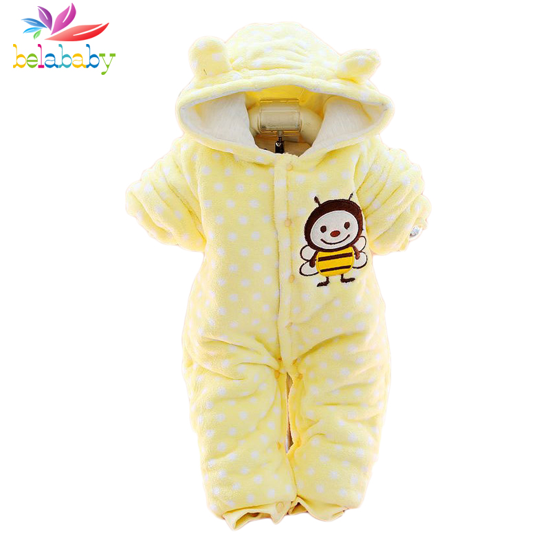 Belababy Baby Rompers Winter Thick Warm Baby boy Clothing Animal Cartoon Long Sleeve Hooded Jumpsuit Kids Newborn Outwear winter baby rompers organic cotton baby hooded snowsuit jumpsuit long sleeve thick warm baby girls boy romper newborn clothing