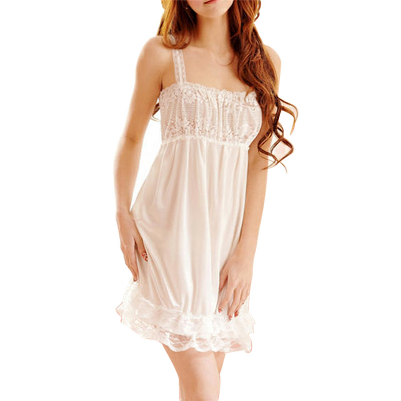 Lovely Ice Silk V-Neck Female Nightdress   Sleepshirts   Sexy Lace Spaghetti Strap Women   Nightgown