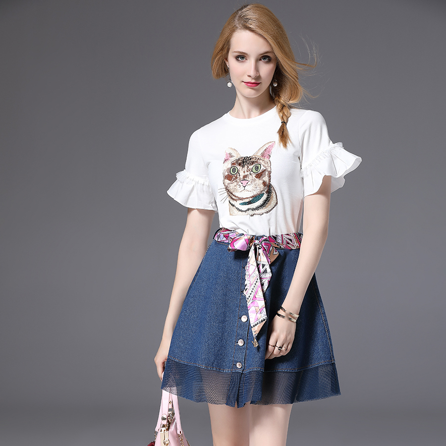 Summer new cat embroidery short sleeve T-shirt net yarn splicing cowboy umbrella skirt belt waist suits female women european