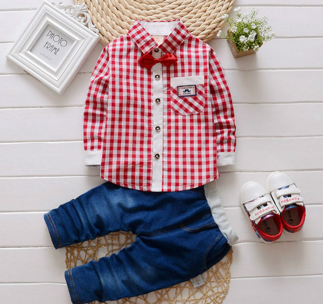 2 PCS Fashion baby laid rompers shirts + jeans boys clothes bebe clothing set gentleman clothing set Red / light or Dark Blue