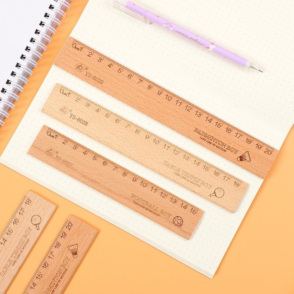JIANWU 1PC Simple 15cm 18cm 20cm Creative Wooden Ruler Simple Fashion Design Ruler Drawing Supplies Kawaii
