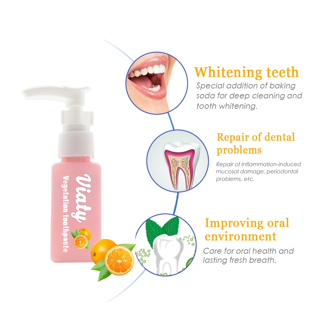 Teeth whitening Intensive Stain Removal Whitening Toothpaste Gums Orange Flavor Cleaner Teeth Baking Soda(China)