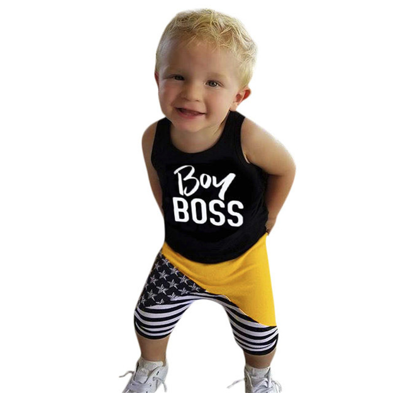 2018 New 2Pcs Toddler Kids Baby Boys Letter Vest Tops+Star Pants Outfits Clothes Set Dropshipping Wholesaling retailing P5