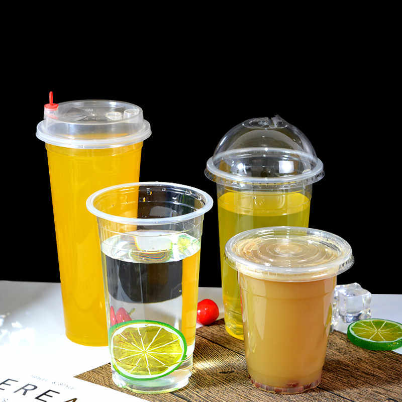 50pcs 95 caliber disposable PP high transparent cup milk tea coffee juice beverage packaging plastic cup with lids