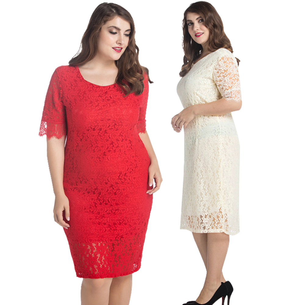 2017 High Quality New Women Plus Size Half Sleeve Square Neck Lace Knee Length Pencil Summer Dress