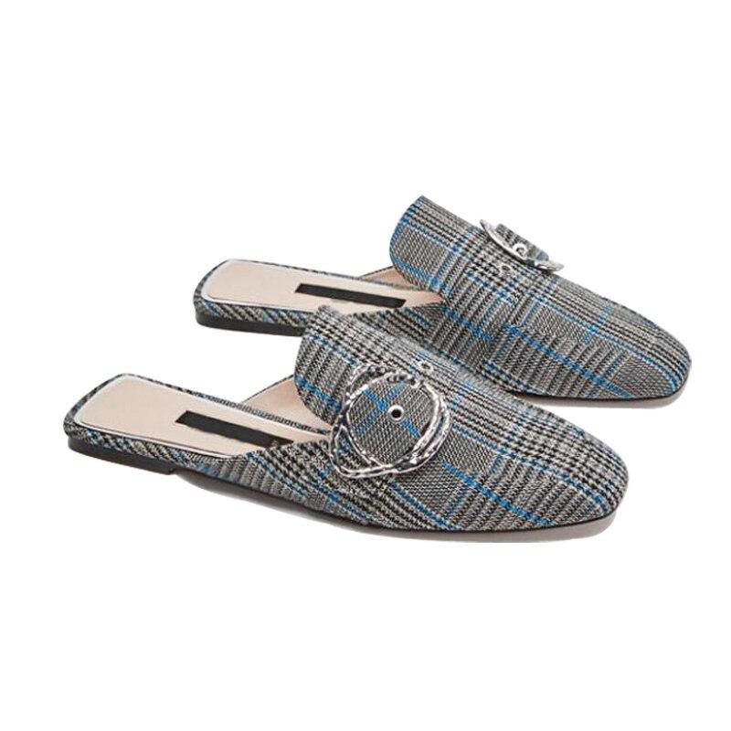 Дамская обувь 2018 модные женские туфли в клетку Шлёпанцы Демисезонный женские туфли без задника Fringe Лето Для женщин круглый носок плоские та...
