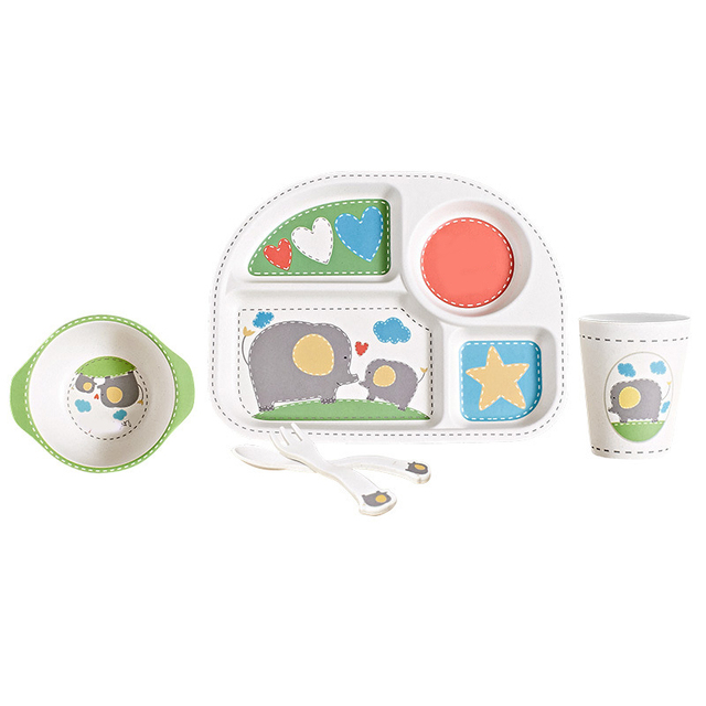 kids plates and bowls wood fiber bamboo tableware baby feeding baby food kids plates set and spoon fork cup bpa free cartoon