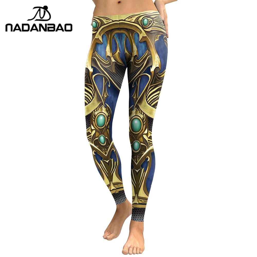 NADANBAO New Arrival 2018   Leggings   Women Armor Digital Print Sapphire Metal P[lus Size Fitness Leggins Workout Pants   Legging
