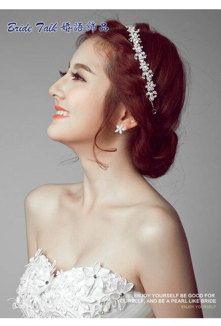 Clear Wedding Bridal Crystal Tiara Crowns Princess Queen Pageant Prom Rhinestone Veil Flower Headband Hair