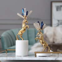 Gold Copper War Horse Retro Sculpture Metal Statuette Marble Base Home Decor Art Gift Figurines Home Decoration Accessories