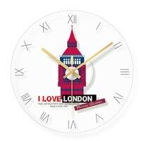 Big Ben Design Round Clocks Silent Home Cafe Office Bar Decorative Watches Great Britain England London Art Wall Clock