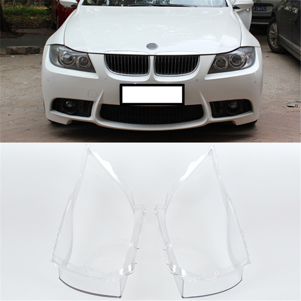 Hot Sale 2Pcs Car Headlight Lens Cover Polycarbonate Durable Headlamp Lens Cover Kit Left and Right For BMW E90 04-07 headlamp polishing paste kit diy headlight restoration car plastic restore car head light motor cleaner renew lens polish kit