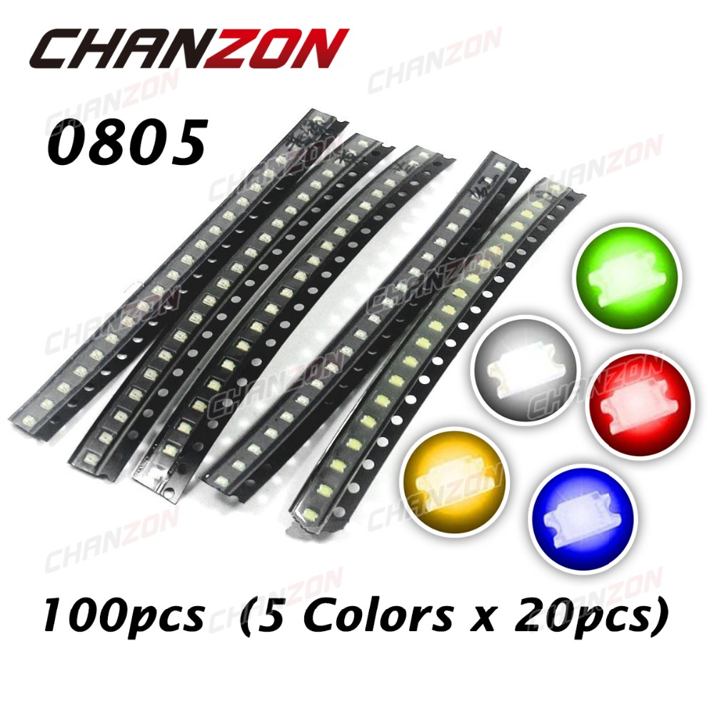 CHANZON 100pcs (5 colors x 20pcs) SMD 0805 (2012) LED White Red Green Yellow Blue Light Emitting Diode SMT Lamp Assorted Kit