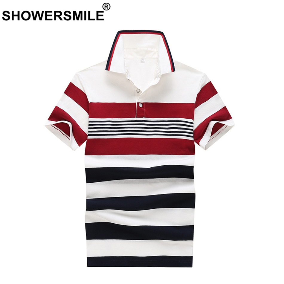 SHOWERSMILE Striped Polo Shirt Men Black Red Tees Cotton Business Casual Polo T Regular  ...