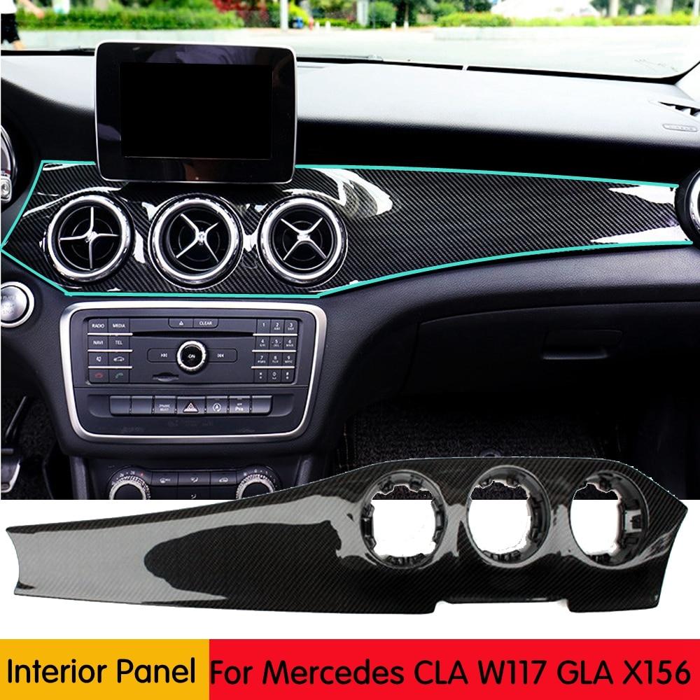 Vraie décoration de panneau de climatisation de Console centrale de voiture de Fiber de carbone pour Mercedes Benz X156 CLA W117 GLA X156 2013-2018