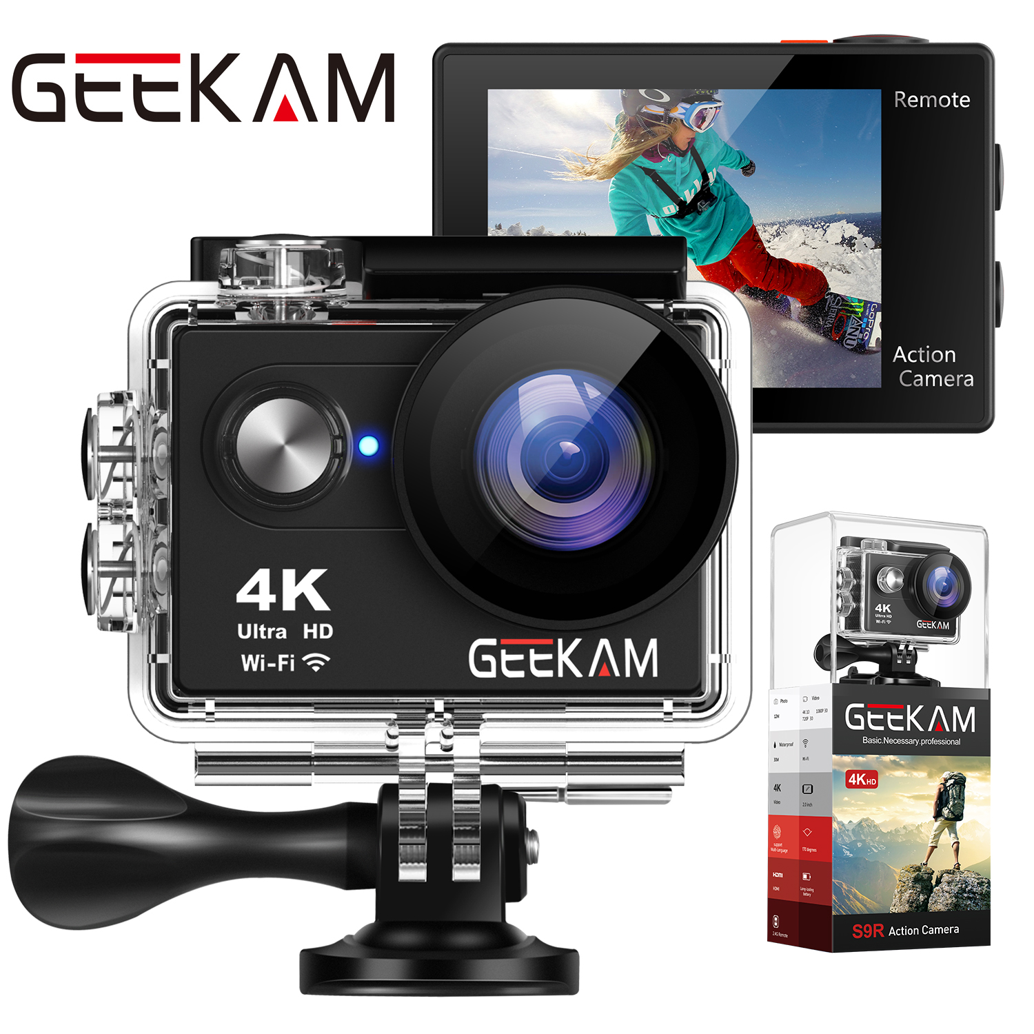 "GEEKAM S9R/S9 Action Camera Ultra HD 4K/10fps WiFi 2.0"" Underwater Waterproof Helmet Video Recording Cameras Sport Cam-in Sports & Action Video Camera from Consumer Electronics"