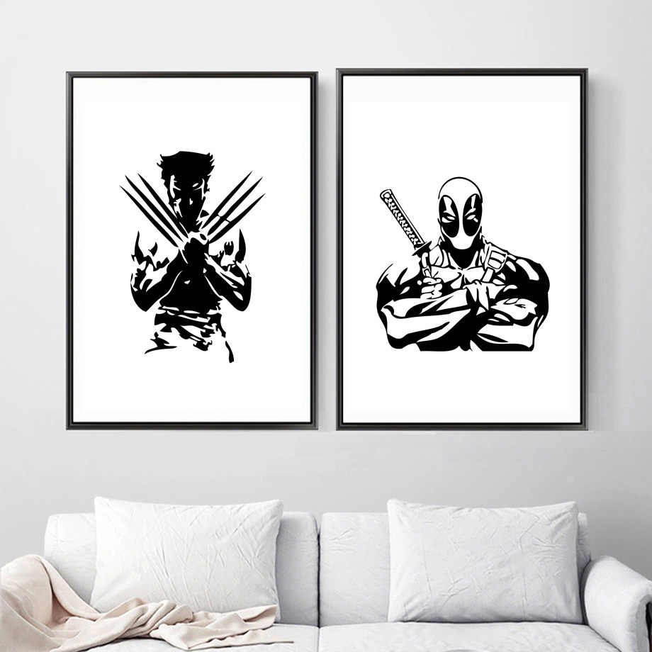 Wolverine deadpool superhero wall art canvas painting marvel posters and prints black white wall pictures for