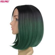 Feilimei Black Short Straight Wig 160g African American Females Hair Extensions Syntetisk Japansk Fiber Ombre Green Bob Parykker