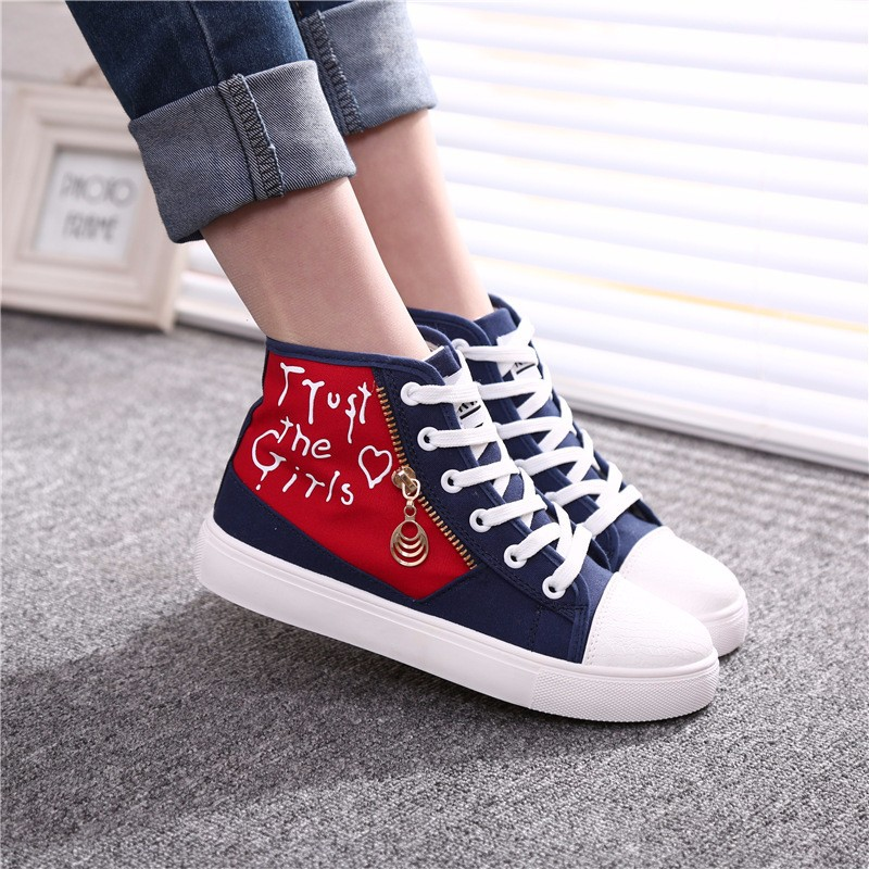 Flat High Top Canvas Women Shoes 17 Colors Spring Autumn Women's Flats Espadrilles Lace Up Casual Shoes Foot 22-24.5CM YD87 (19)