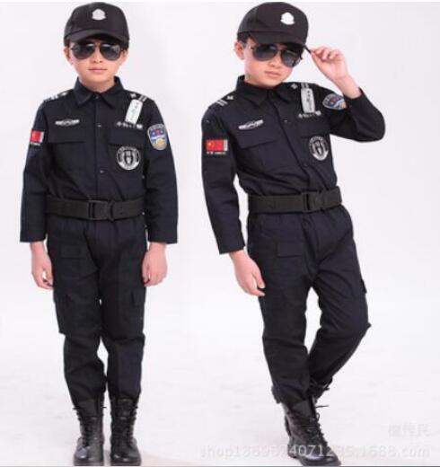 Enfants de Halloween 100-160 cm cadeau Disfrace Garçons kid cop police Costume Enfants policier Cosplay d'anniversaire partie uniforme