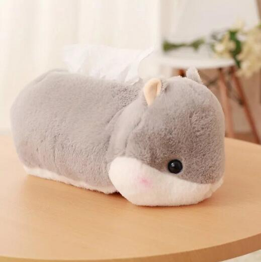 [Bainily]1pc Cute Hamster Plush Tissue Box Soft Staffed Animal Hamster Plush Tissue Cover Creative Home Decoration Lovely Toys