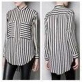 Autumn Ladies Chiffon Blouses Long Sleeve Stripe Shirt Women Large Pockets Tops For Women Black White Plus Size