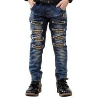 Otoño Jeans para Niños Niños Denim Jeans Rasgados Pantalones Vaqueros Adolescentes Delgado