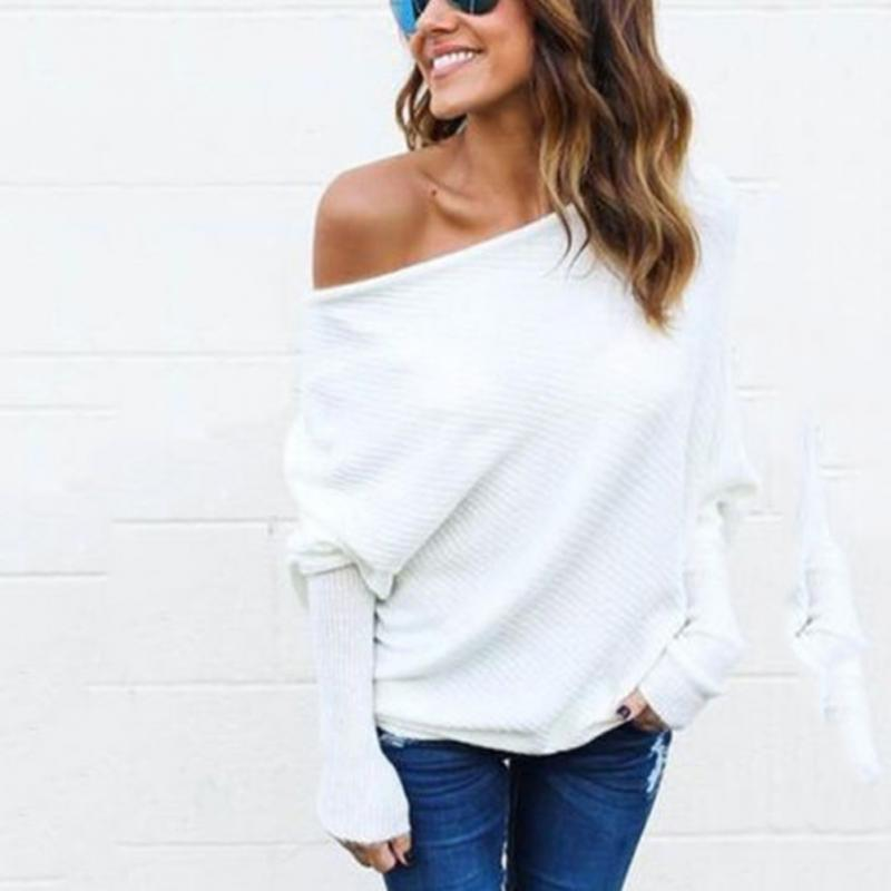 Ladies Winter Autumn Fashion Sexy Casual Off Shoulder Long Sleeve Solid Polyester Fiber Knitted Pullover Sweater Top