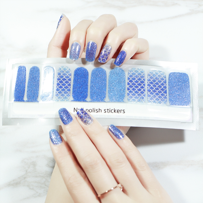 20Pcs BlueFish Stripes Nail sticker Full waterproof Non toxic French Nail Transfer Stickers Manicure Nail Art Decoration Tools in Stickers Decals from Beauty Health