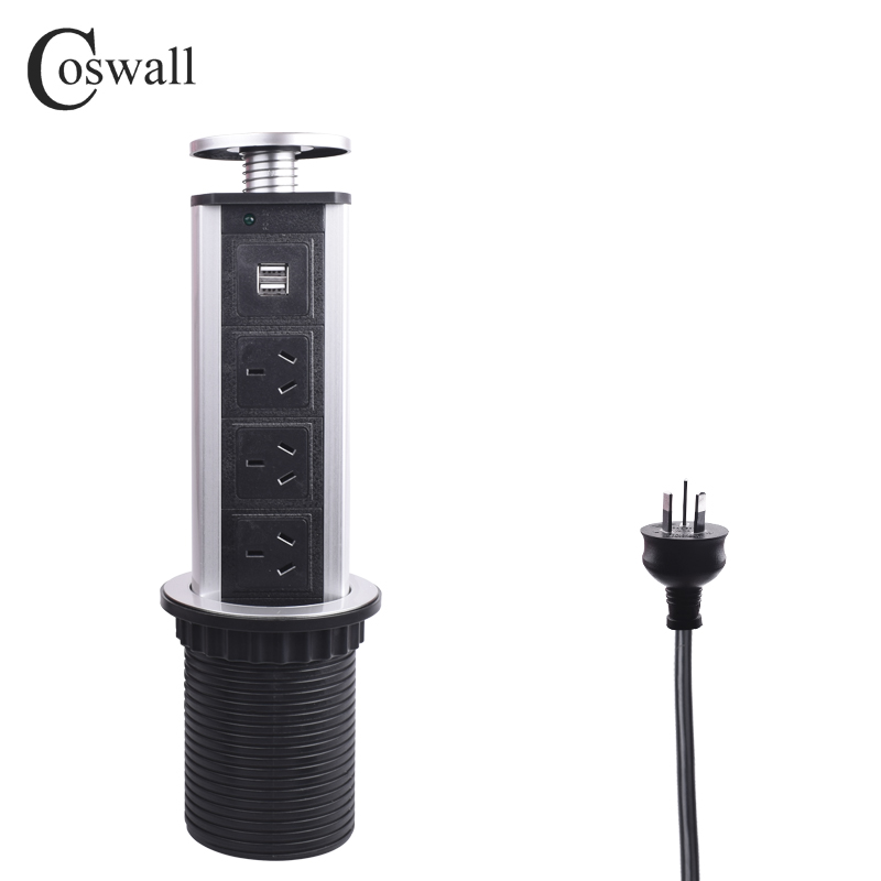 COSWALL PULL POP UP 3 Power AU / New Zealand Socket 2 USB Charging Port Kitchen Table Desktop Sockets Retractable Worktop Plug bcsongben pull table socket pop up 3 power socket 2 usb charging port desktop 16a sockets retractable countertop worktop eu plug