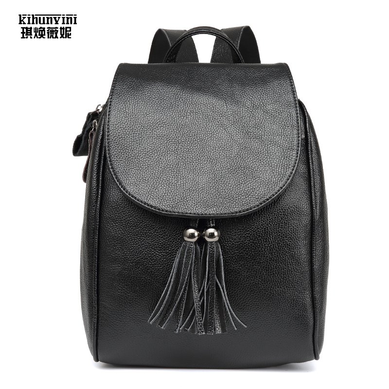 Leather Backpack Female Pack Cow Leather Tassel Backpacks Hot Ladies Back Pack Schoolbag For Teenage Girls Mochila Sack A Main